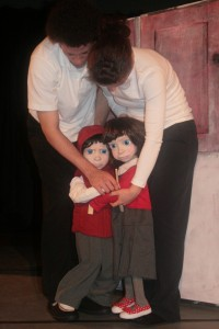Ken and Bee, portrayed by puppets