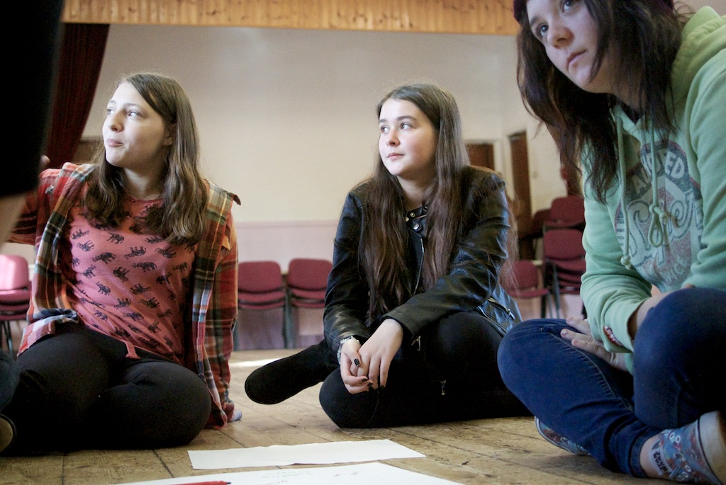 Three young people taking part in Big Democracy Development Project