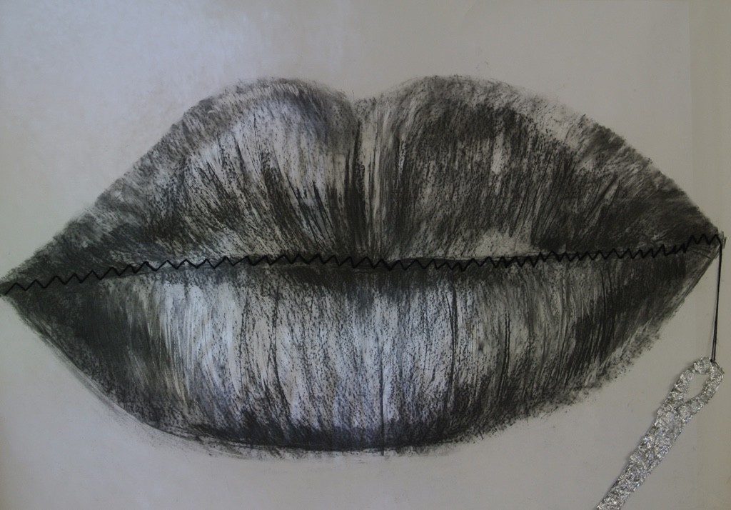 A drawing of a pair of lips, sewn together