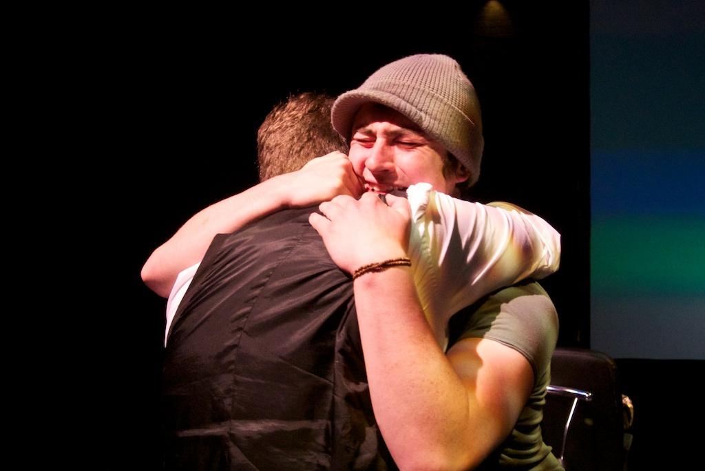 Sam and Ifan hug